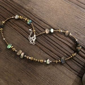 Silpada Retired Abalone, Brass, & Silver Necklace